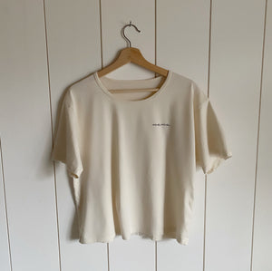 Nana - Embroidered Drapey Boxy Tee (Natural)