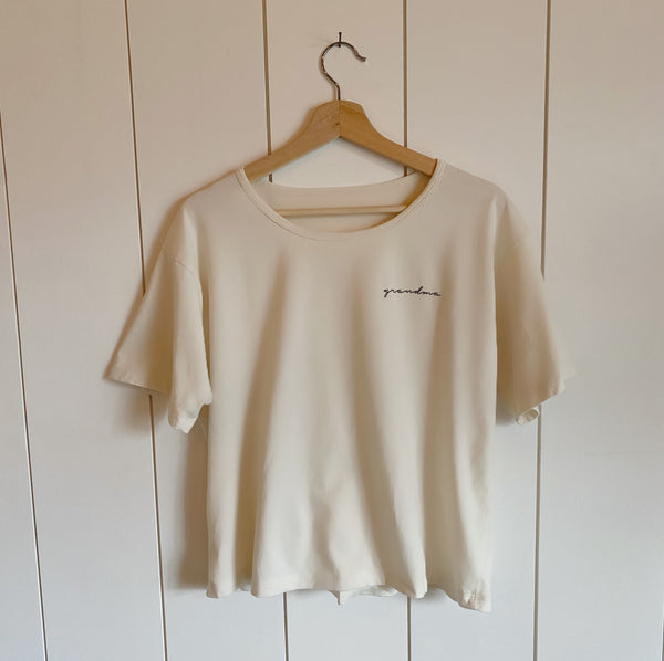 Grandma - Embroidered Drapey Boxy Tee (Natural)