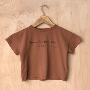 Spread Kindness like Wildflowers- Kid's Boxy Tee (Brown)
