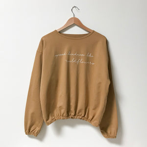Spread Kindness Like Wildflowers - Embroidered Slouchy Pullover (Mustard)