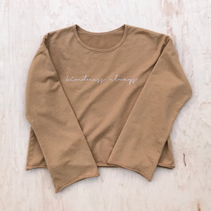 Kindness Always - Women's Raw Edge Sweatshirt (Mustard)