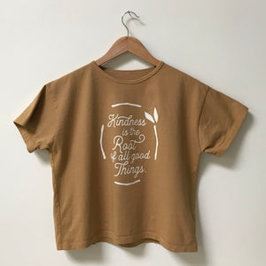Kindness is the Root of all Good Things - Women's Boxy Tee (Mustard)