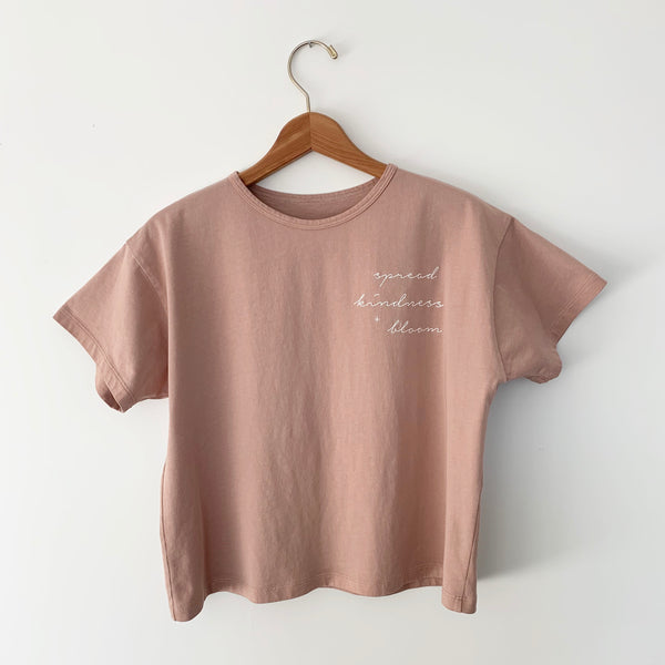 Spread Kindness and Bloom - Women's Boxy Tee (Soft Rose)
