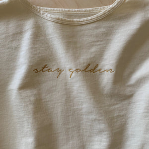 Stay Golden - Embroidered Slouchy Women's Pullover (Natural)