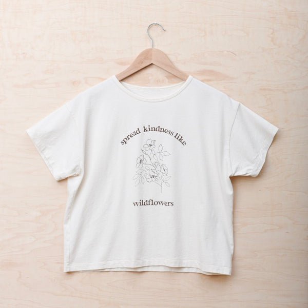 Spread Kindness Like Wildflowers Floral Print - Women's Boxy Tee (Natural)