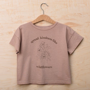 Spread Kindness Like Wildflowers Floral Print - Kid's Boxy Tee (Soft Rose)