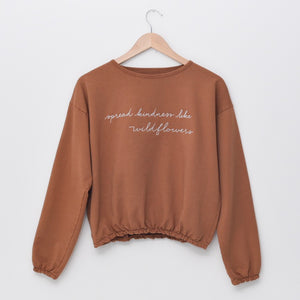 Spread Kindness Like Wildflowers - Embroidered Slouchy Pullover
