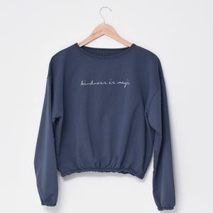 Kindness is Magic - Embroidered Slouchy Pullover (Navy)
