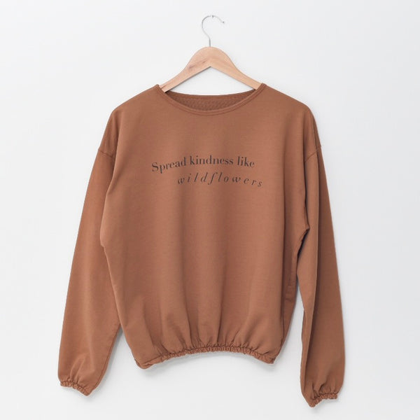 Spread Kindness Like Wildflowers - Slouchy Women's Pullover (Brown)