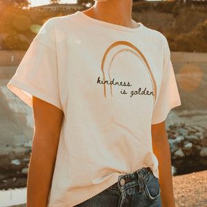 Kindness is Golden - Boxy Tee (Natural)