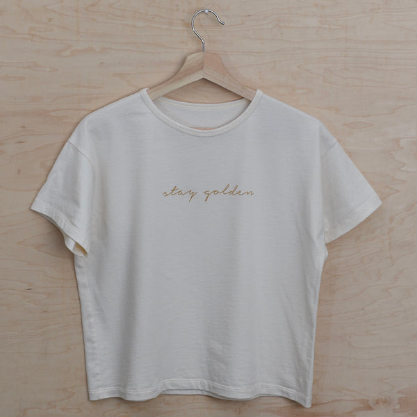 Stay Golden - Embroidered Women's Boxy Tee (Natural)