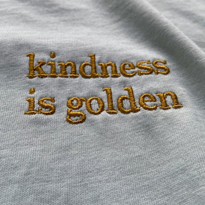 Kindness is Golden - Embroidered Drapey Boxy Tee (Sea Glass)