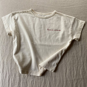 Love Wins - Embroidered Kid's Boxy Tee (Natural)