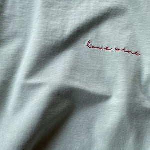 Love Wins - Embroidered Drapey Boxy Tee (Sea Glass)