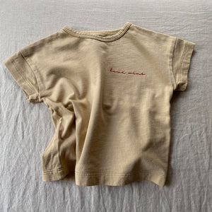 Love Wins - Embroidered Kid's Boxy Tee (Toasted Wheat)