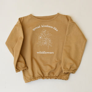 Spread Kindness Like Wildflowers Floral Print - Kid's Slouchy Sweatshirt (Mustard)