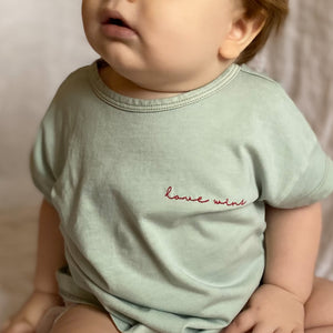 Love Wins - Embroidered Kid's Boxy Tee (Sea Glass)