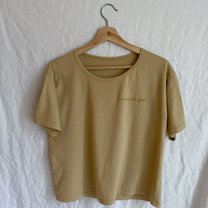 Spread Light - Embroidered Drapey Boxy Tee (Toasted Wheat)