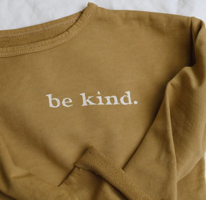 Be Kind - Kid's Raw Edge Sweatshirt (Mustard)