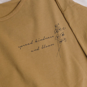Spread Kindness and Bloom - Floral Print - Women's Boxy Tee - Extended Sleeves (Mustard)