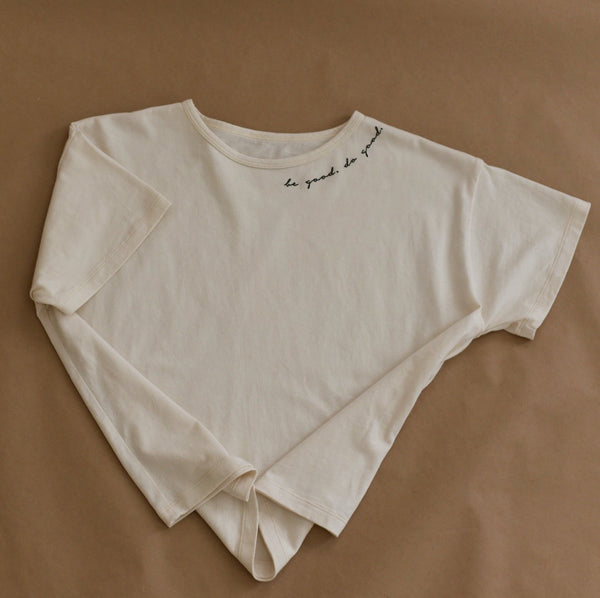 Be Good - Embroidered Boxy Tee (Natural)