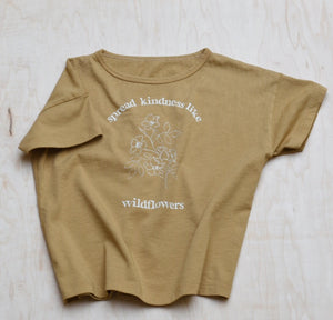 Spread Kindness Like Wildflowers Floral Print - Kid's Boxy Tee (Mustard)
