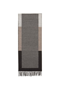 Scarf in Grey with Bands of Natural Tones