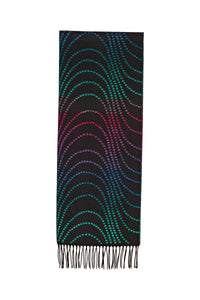 Scarf in Black/Turquoise/Fuchsia/Blue with Dot Motif