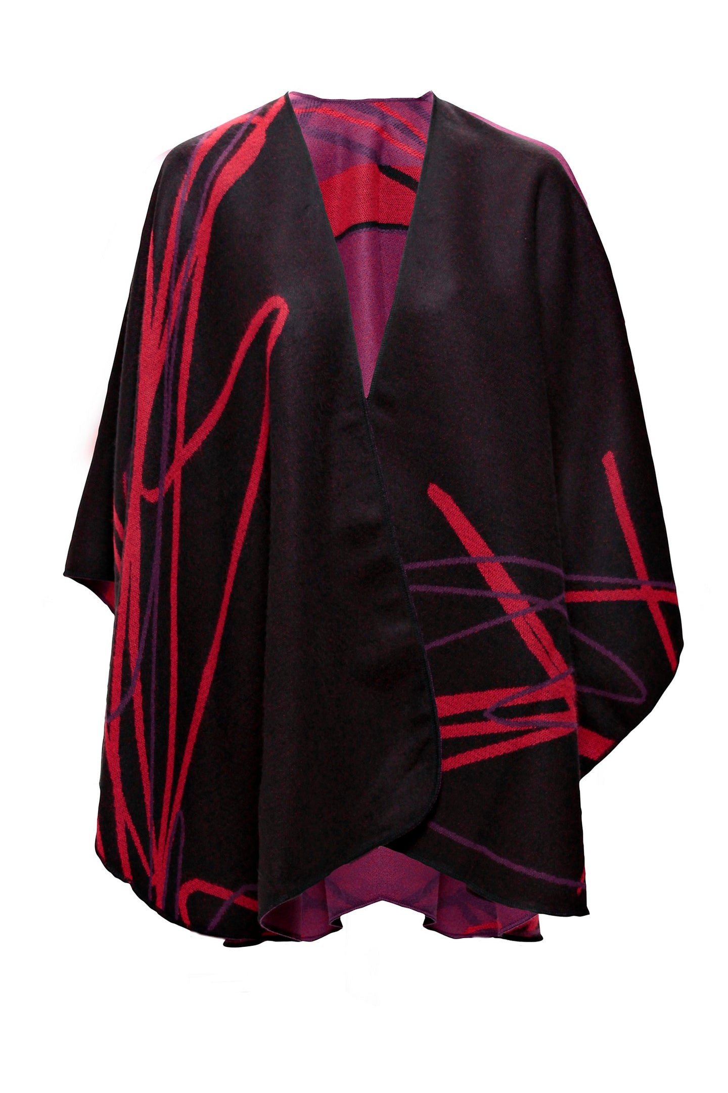Shawl in Black/Red with Abstract Design