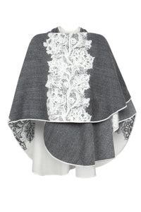 "Shawl in Charcoal/Ivory with Floral ""Lace"" Motif"