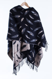 Fringed Shawl with Feather Motif