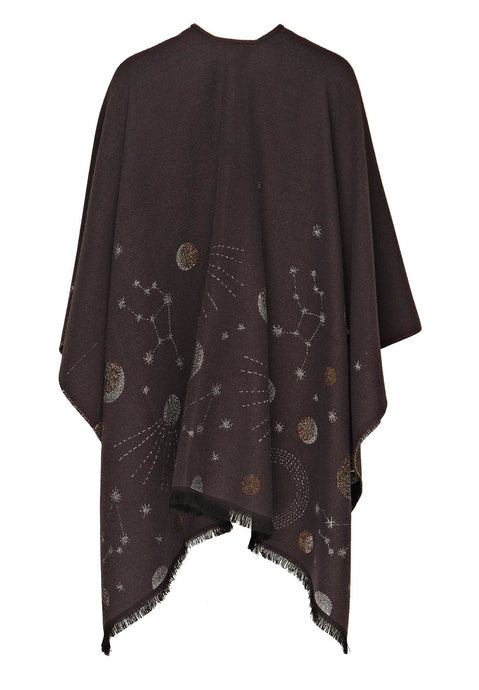 Fringed Shawl with Galaxy Motif