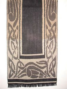 Scarf in Black/Camel with Celtic Motif