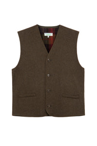 Man's Moss Green Waistcoat With Plaid Interior