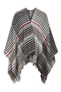 Fringed Shawl in White/Grey/Cherry Plaid