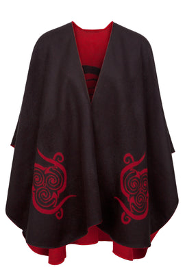 Shawl in Black/Red with Celtic Motif