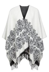 "Fringed Shawl in Ivory/Charcoal With Floral ""Lace"" Motif"