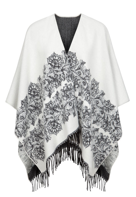 Fringed Shawl in Ivory/Charcoal With Floral