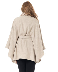 Belted Cape with Faux Fur Trim