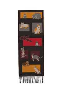 Black Scarf with Cat Motif