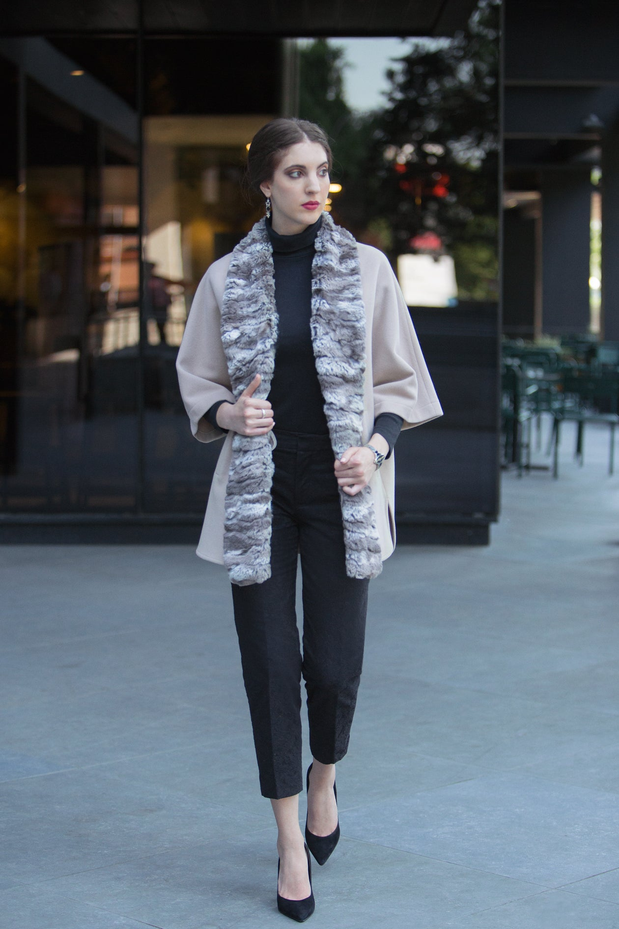 Free Flowing Cape with Faux Fur Trim
