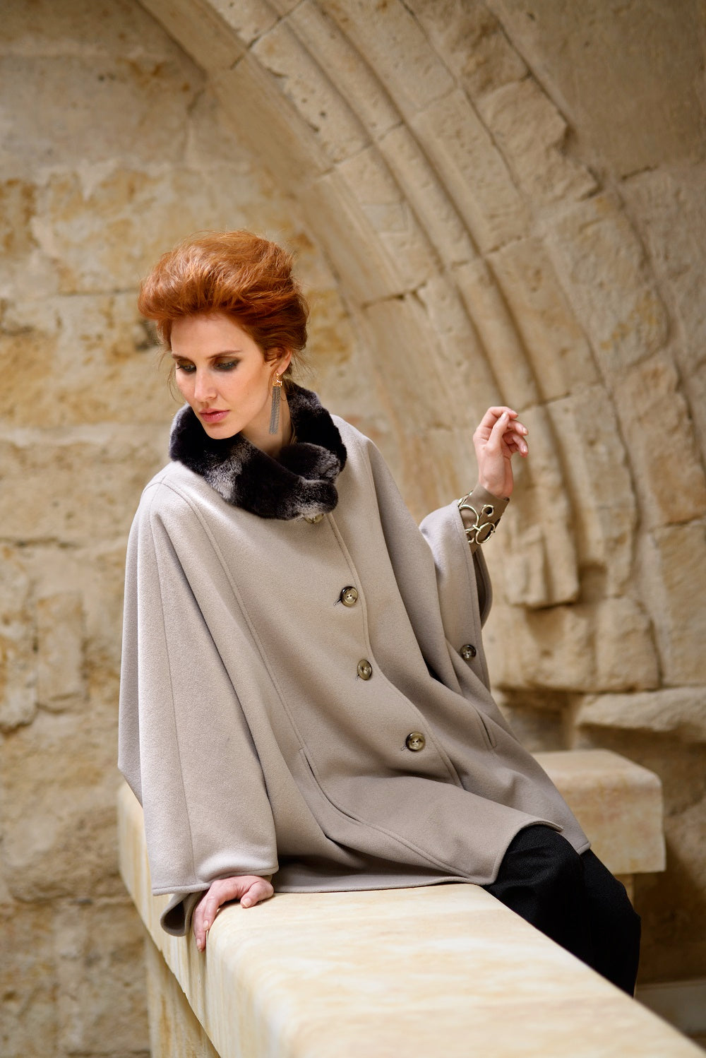 Cape in Stone with Trimmed Collar