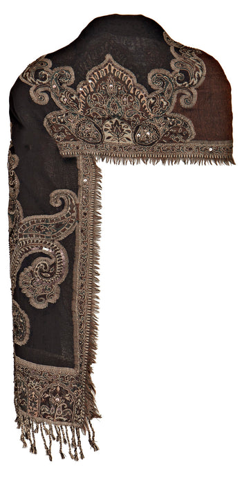 Black / Tan Beaded Stole with Paisley Motif