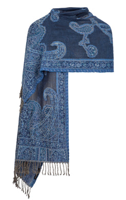 Blue Stole With Srinagar Motif