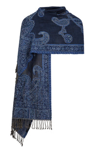 Blue Beaded Stole With Paisley Motif