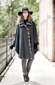 Cape in Grey with Trimmed Collar and Facing