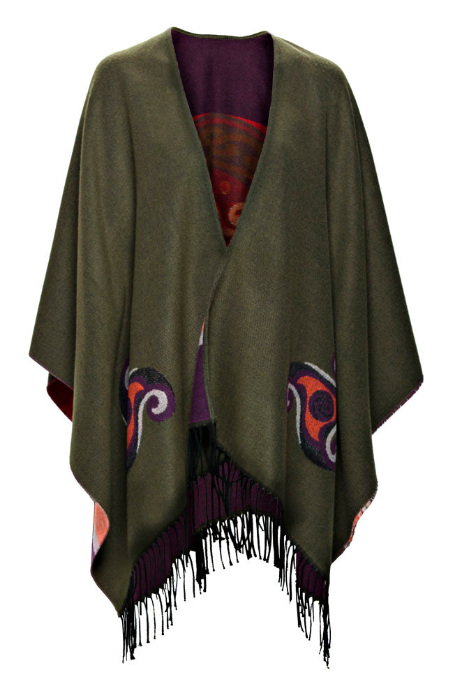 Fringed Shawl in Moss Green with Celtic Motif