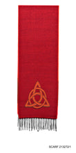 Scarf in Red with Celtic Trinity Knot Motif