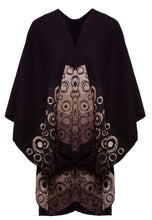 Shawl in Black/Earth Tones with Bubbles Motif