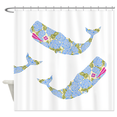 Blue Hydrangea Whale Shower Curtain